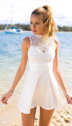 White High Neckline Crochet Skater Dress #ustrendy www.ustrendy.com