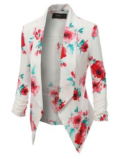 Open Front Floral Blazer Jacket - Haute Chic Boutique