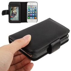 Trendy leren iPhone hoesjes - #leather iphone case wallet 4s | [$3.55] Litchi Texture Wallet Holster Horizontal Flip Leather Case with Credit Card Slots for iPhone 4 & 4S(Black) - http://www.ledereniphonehoesjes.nl/slimme-iphone-6-hoesjes/