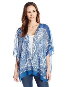 Allison Brittney Women's Bandana Handkerchief Print Woven Kimono Cardigan -- You can find more details by visiting the image link.