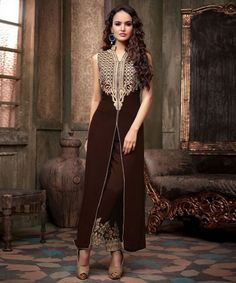 """http://www.istyle99.com/Salwar-Suit/Brown-Semi-Stitched-Anarkali-Salwar-Kameez-7744.html Brown Semi Stitched Anarkali Salwar Kameez -Rs 1293 Stitch Type: Semi-stitched Top Colour: Brown Bottom Colour: Brown Dupatta Colour: Brown Kameez Fabric: Georgette Bottom Fabric: Santoon Dupatta Fabric: Chiffon CUSTOMIZED UP TO: 42"""" Bottom in Mtr: 2 Mtr Dupatta in Mtr: 2.25 Mtr Care Type: Dry Cleanr Work Type: Embroidery"""