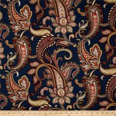 Duralee+Home+Lucy+Paisley+Navy from @fabricdotcom  Screen+printed+on+a+cotton/linen+blend+this+medium/heavyweight+fabric+is+very+versatile.+This+fabric+is+perfect+for+window+treatments+(draperies,+valances,+curtains,+and+swags),+pillow+shams,+duvet+covers,+toss+pillows,+slipcovers+and+upholstery.+Colors+include+red,+ivory,+golden+tan+and+navy.