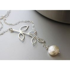 Lariat Style Necklace, Sterling Silver Branch Necklace, Fresh Water... (€27) ❤ liked on Polyvore featuring jewelry, necklaces, lariat jewelry, freshwater pearl jewelry, lariat necklace, sterling silver jewelry and sterling silver jewellery