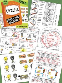 CIRCUITS interactive notebook BUNDLE by science doodles, task cards, game, foldables, and lots more, 43 pages