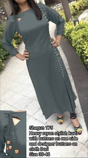 Best 11 Stylish Women Ethnic Indian Bollywood Designer Cotton Tunic Women's Kurti Kurta Kurti Sleeves Design, Sleeves Designs For Dresses, Kurta Neck Design, Dress Neck Designs, Blouse Designs, Churidar Designs, Kurta Designs Women, Kurti Designs Party Wear, Indian Designer Outfits