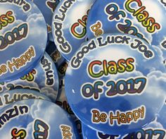 A wonderful gesture by a teacher. We created these personalised badges for every student in her class as a parting gift before they start their A level exams