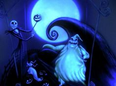 Great Glow In The Dark Nightmare Before Christmas Bedroom Mural Idea