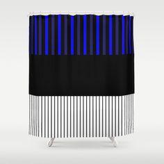 Colour Pop Stripes - Blue Shower Curtain by laec Colour Pop, Color, Blue Shower Curtains, Blue Stripes, Bathroom, Washroom, Colour, Bathrooms, Blue Streaks
