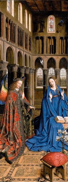 The Annunciation is an oil painting by the Early Netherlandish master Jan van…