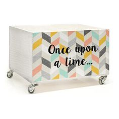Caisse avec roues Once Upon a Time en bois  Blanc et noir  40 x 32 x 23 cm