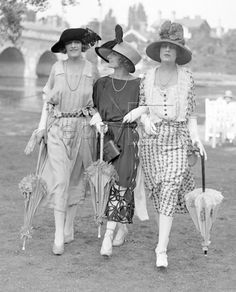 Three lovely ladies at Royal Ascot Racecourse in 1921.