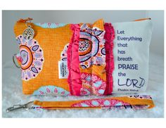 Large Zippered Wristlet or Clutch Accented with Ruffles and Scripture on Etsy, $28.00