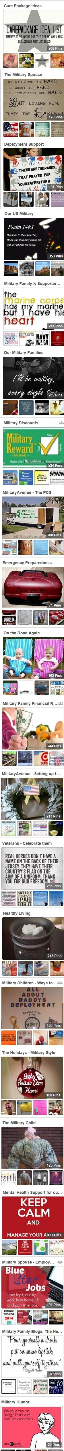 Great Resource for Military Deployment, Support, Empowerment, Education, PCS and so much more!  Come follow along the military journey: http://www.pinterest.com/militaryavenue