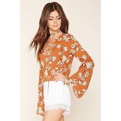 Forever 21 Women's  Floral Print Bell-Sleeve Top ($20) ❤ liked on Polyvore featuring tops, woven top, floral top, flared sleeve top, long bell sleeve tops and long tops
