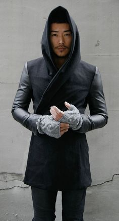 I could see myself wearing this. It's out of stock, or I'd probably have already ordered it! Outerwear :: Coats :: Re) Avant-garde Slim Fit Hood Coat-Coat 11 - Mens Fashion Clothing For An Attractive Guy Look Sharp Dressed Man, Well Dressed Men, Mode Geek, Der Gentleman, Image Mode, Cyberpunk Fashion, Looks Black, Future Fashion, Stylish Men