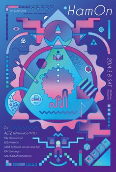 Japanese Concert Poster: HamOn at Cave246. Asuka Watanabe. 2014