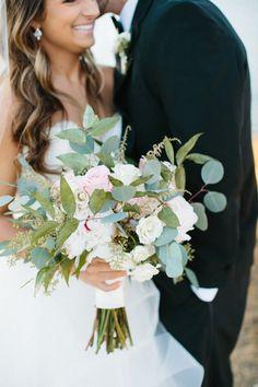 Rose, astilbe and eucalyptus wedding bouquet: http://www.stylemepretty.com/georgia-weddings/douglasville/2017/02/27/georgia-simple-eleganance-wedding/ Photography: Hillary Leah - https://www.hillaryleahphotography.com/