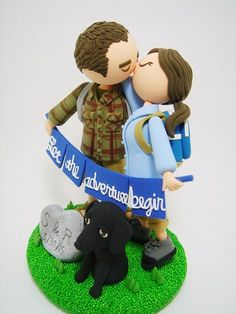 Cute hiking cake topper