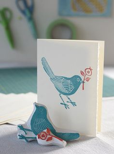 Craft Hope for Haiti by Geninne at Flickr(↑) This hand carved birdie stamp and a couple of cards that I stamped with it are up for sale at Jade's wonderful Craft Hope for Haiti shop, all proceeds will benefit Doctors Without Borders in Haiti. Photo by Lark Books