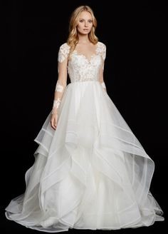 wedding dress with long lace sleeves by Hayley Paige