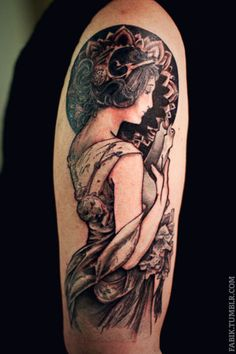 alphonse mucha tat - if i ever get one, an art nouveau tattoo it will be.