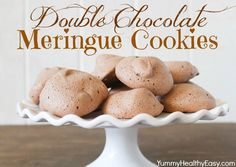 Double Chocolate Meringue Cookies - lower fat/calorie, light, crunchy, chocolatey and deliciously easy cookies