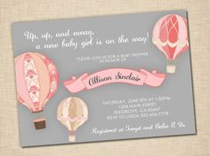 Up Up and Away Baby Shower Invitation baby girl hot by Its4Keeps