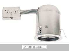 """Adjustable socket bracket allows different lamp types and sizes   Height 7 1/2"""" allows the use in 2 x 8 ceiling construction   UL Listed for damp locations and feed through.   This housing with Gasket meets CA Title 24 code  Lamp Color: 75W max    Dimension: Height: 7 1/2"""", Ceiling Opening: 5 ½""""  Regular price: $19.88  Sale price: $11.15"""
