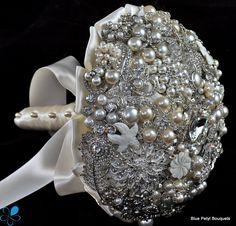 Pearl #BroochBouquet - by Blue Petyl - SMALL. $325.00, via Etsy.