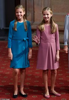 King Felipe and Queen Letizia of Spain joined by daughters Princesses Sofia, and Leonor, 13 Princess Sofia, Prince And Princess, Baby Blue Dresses, Little Girl Dresses, Summer Dresses, Royal Fashion, Girl Fashion, Style Royal, Cute Young Girl