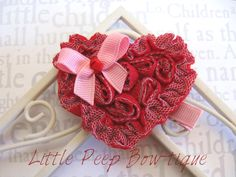 Valentines hair bow Red heart hair bow clip Pink Red Velantines Day clippie No Slip grippie. $5.00, via Etsy.