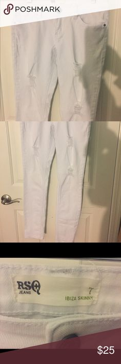 RSQ Skinny Jeans White skinny jeans with razor cutout. Great fitting. New and excellent condition. worn once. RSQ Jeans Skinny