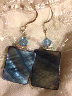 Sea Glass Inspired Handmade Ombre Blue Purple Gemstone Chip Scallop Silver Beach Earrings Fluorite and Seashell Charm Dangle Drop Earrings