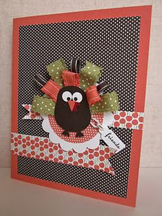 Gobble Gobble ribbon turkey with owl punch