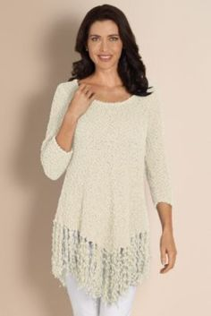 Serena Sweater - Chenille Fringe Sweater, Sweaters & Cardigans, Clothing | Soft Surroundings