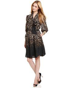 Vince Camuto Dress, Three-Quarter-Sleeve Belted Animal-Print Shirtdress - Womens Dresses - Macy's