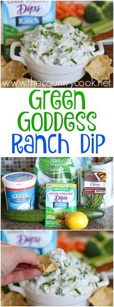 Green Goddess Ranch Dip recipe from The Country Cook. Like a spinach dip but with lots more flavor. Perfect for the big football game!