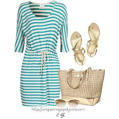 Striped Jersey Dress, created by uniqueimage on Polyvore