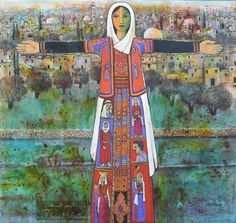 Mother Palestine by Nabeel Enani Painter Artist, Artist Painting, Artist Art, Palestine History, Palestine Art, Middle Eastern Art, Palestinian Embroidery, Arabic Art, The Beautiful Country