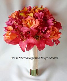 Asiatic Lily Wedding Bouquet pink and orange | ... designs silk, latex, real touch, custom wedding flowers - Order status