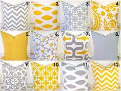 Items similar to GRAY PILLOWS Gray Decorative Throw Pillows Yellow Throw Pillow Covers All Sizes. Euro Shams 22 Home Decor Say it with pillows on Etsy Turquoise Pillows, Yellow Pillows, Grey Pillows, Yellow Sofa, Grey Couches, Sofa Pillows, Cushions, Yellow Pillow Covers, Chevron Throw Pillows