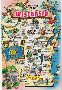 Vintage Postcards - States Maps USA - Wisconsin Map Postcard - Postcard Greetings