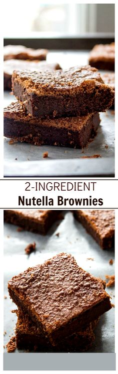 2-Ingredient Nutella Brownies | www.diethood.com | Eggs and Nutella are all you will need to make these delicious brownies