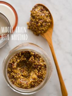 Whole Grain Beer Mustard.  I'm going to try this with the #dryhoplager from #sudwerk Beer Mustard Recipe, Brown Mustard Recipe, Honey Mustard, Grainy Mustard, Beer Recipes, Canning Recipes, Churros, Schnitzel, Salad Dressing