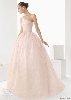 Birmania one-shoulder embroidered organza gown in pink, available in green, blue and ecru.