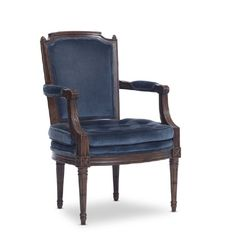 $40 each 2 available Thames+blue+chairs: Blue+velvet+upholstered+arm+chairs.