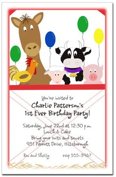 Farm Party Invite idea...however this one cost money and has to be ordered... @Stacey Schell @Libby Hamilton