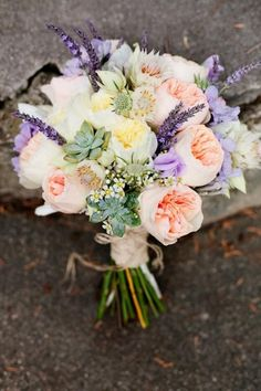 The touch of lavander makes this bouquet so romantic.