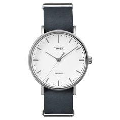 Timex Weekender Fairfield Slip Thru Leather Strap Watch - Silver/Grey TW2P91300JT, Adult Unisex, Soft Black