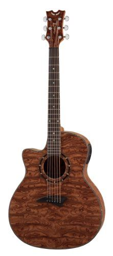 Dean Guitars Exotica A/E Lefty Bubinga Wood Acoustic-Electric Guitar, Left Handed with Aphex